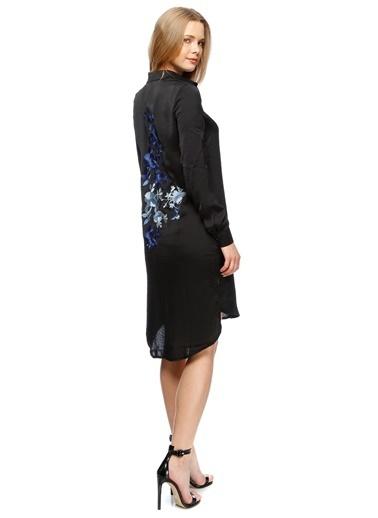 Missguided Sırt Detaylı Gömlek Elbise Siyah